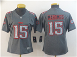 Kansas City Chiefs #15 Patrick Mahomes Women's Gray Camo Limited Jersey