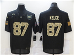 Kansas City Chiefs #87 Travis Kelce 2020 Black Camo Salute To Service Limited Jersey