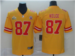 Kansas City Chiefs #87 Travis Kelce Gold Inverted Super Bowl LIV Limited Jersey