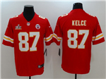 Kansas City Chiefs #87 Travis Kelce Red Super Bowl LV Vapor Limited Jersey