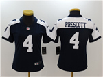 Dallas Cowboys #4 Dak Prescott Women's Thanksgiving Blue Vapor Limited Jersey