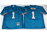 Houston oilers #1 Warren Moon Throwback Light Blue Jersey
