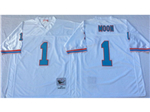 Houston oilers #1 Warren Moon Throwback White Jersey