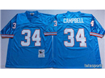 Houston oilers #34 Earl Campbell Throwback Light Blue Jersey
