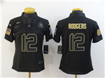 Green Bay Packers #12 Aaron Rodgers 2020 Women's Black Salute To Service Limited Jersey