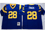 St. Louis Rams #28 Marshall Faulk Throwback Blue Jersey