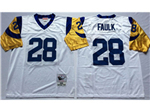St. Louis Rams #28 Marshall Faulk Throwback White Jersey