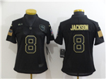 Baltimore Ravens #8 Lamar Jackson 2020 Women's Black Salute To Service Limited Jersey