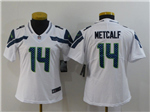 Seattle Seahawks #14 DK Metcalf Women's White Vapor Limited Jersey