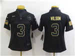 Seattle Seahawks #3 Russell Wilson 2020 Women's Black Salute To Service Limited Jersey