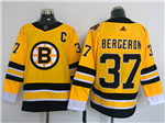 Boston Bruins #37 Patrice Bergeron Yellow 2020/21 Reverse Retro Jersey