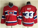 Montreal Canadiens #33 Patrick Roy Youth CCM Vintage Red Jersey