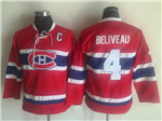 Montreal Canadiens #4 Jean Beliveau Youth CCM Vintage Red Jersey