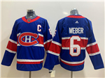 Montreal Canadiens #6 Shea Weber Royal Blue 2020/21 Reverse Retro Jersey