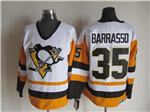 Pittsburgh Penguins #35 Tom Barrasso 1992 Vintage CCM White/Gold Jersey