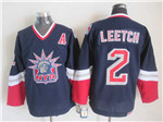 New York Rangers #2 Brian Leetch 1998 CCM Liberty Logo Navy Blue Jersey