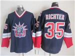 New York Rangers #35 Mike Richter 1998 CCM Liberty Logo Navy Blue Jersey