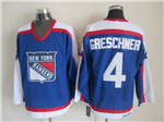 New York Rangers #4 Ron Greschner 1977 CCM Throwback Blue Jersey