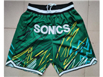 "Seattle SuperSonics Just Don ""Sonics"" Green Sublimated Basketball Shorts"