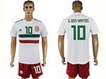 Mexico 2018 World Cup Away White Soccer Jersey with #10 G.Dos Santos Printing