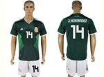 Mexico 2018 World Cup Home Green Soccer Jersey with #14 J.Hernandez Printing