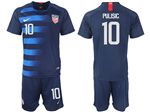 USA 2018/19 Away Navy Soccer Jersey with #10 Pulisic Printing