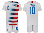 USA 2018/19 Home White Soccer Jersey with #10 Pulisic Printing