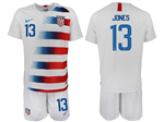 USA 2018/19 Home White Soccer Jersey with #13 Jones Printing
