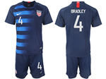 USA 2018/19 Away Navy Soccer Jersey with #4 Bradley Printing
