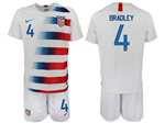 USA 2018/19 Home White Soccer Jersey with #4 Bradley Printing