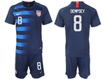 USA 2018/19 Away Navy Soccer Jersey with #8 Dempsey Printing