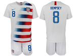 USA 2018/19 Home White Soccer Jersey with #8 Dempsey Printing